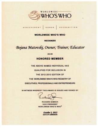 Worldwide- Who'sWho- Honored Member