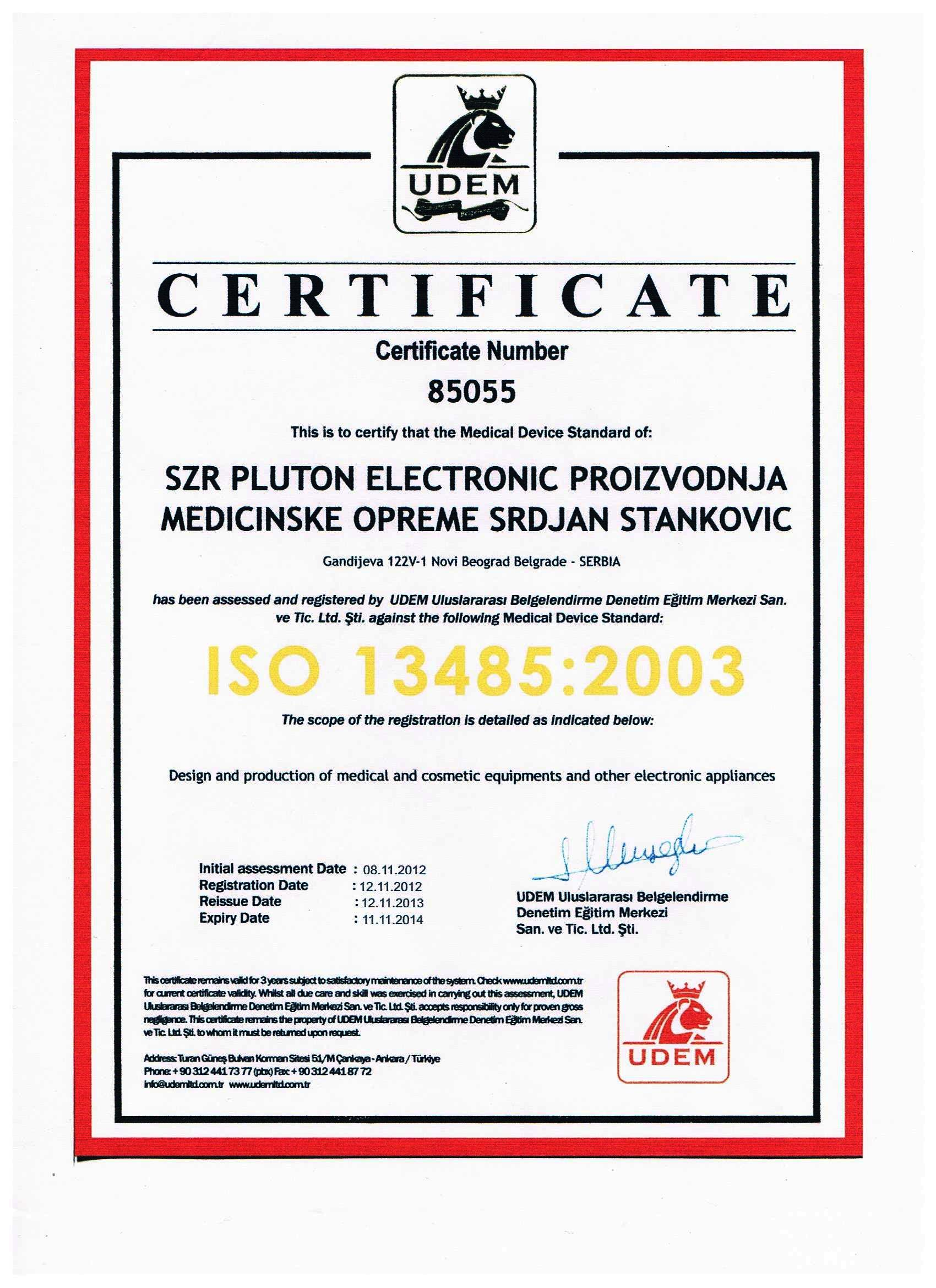 CERTIFICATE ISO 13485 : 2003