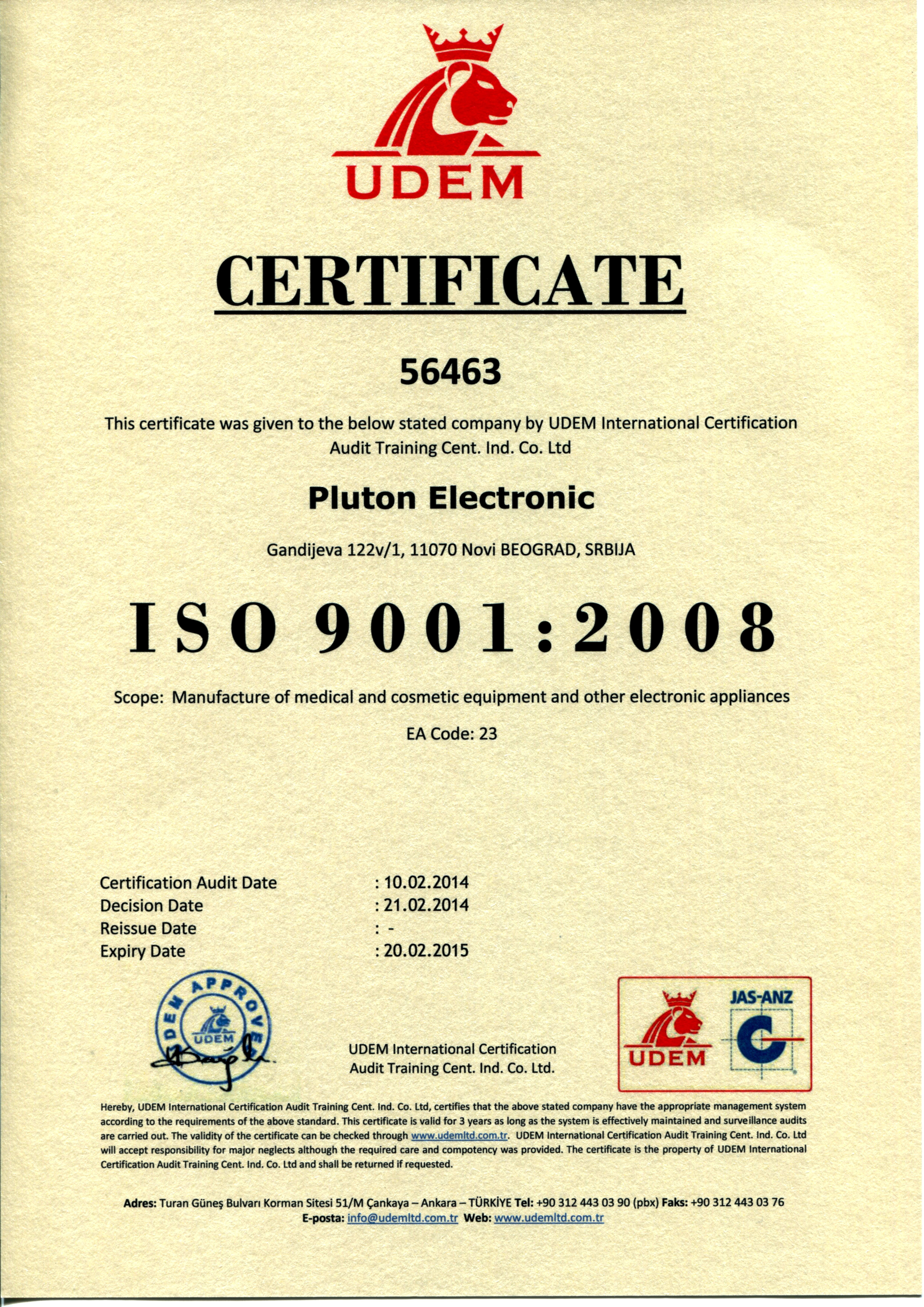 CERTIFICATE: ISO 9001 : 2008